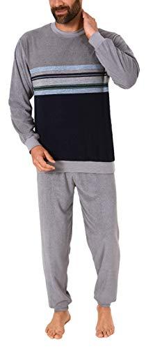 Lässiger Herren Frottee Pyjama Schlafanzug mit Bündchen in Streifenoptik - 291 101 93 844, Größe2:54, Farbe:grau