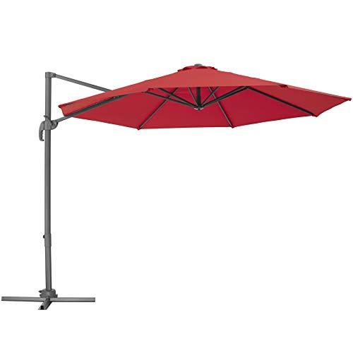 TecTake 800684 - Parasol Excéntrico de Jardín, Mástil de Aluminio con Manivela, Protección UV 50+, 6 Niveles de Inclinación, Ø 300 cm (Burdeos | No. 403135)