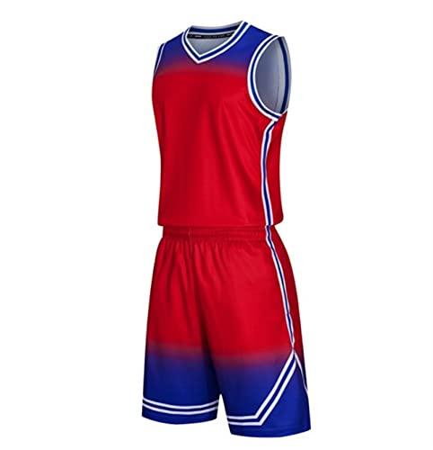 Xygm Juego de camisetas de baloncesto para hombre y niños, universidad y mujer, uniformes de baloncesto, ropa deportiva y pantalones cortos transpirable (color: rojo, tamaño: L)