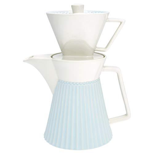 GreenGate Kaffeekanne Alice Blau mit Filter Everyday Geschirr Pale Blue Kanne