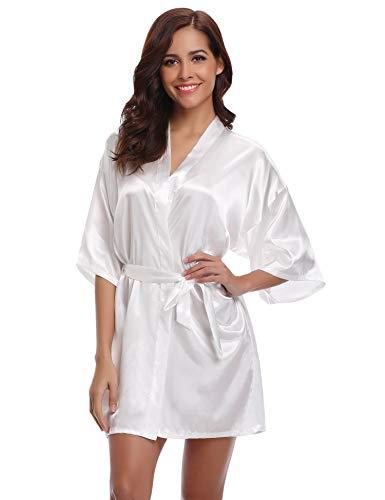 Aibrou Damen Morgenmantel Kimono Satin Kurz Robe Bademantel Nachtwäsche Sleepwear V Ausschnitt mit Gürtel (Medium, Weiß-Neu)