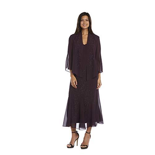 R&M Richards Women's Beaded Chiffon Jacket Dress, Eggplant, 12