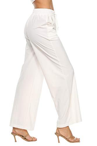 LNX Damen Bequeme Palazzo Hose Weite Bein Hose Lounge Wear Pull On Straight Pants mit...