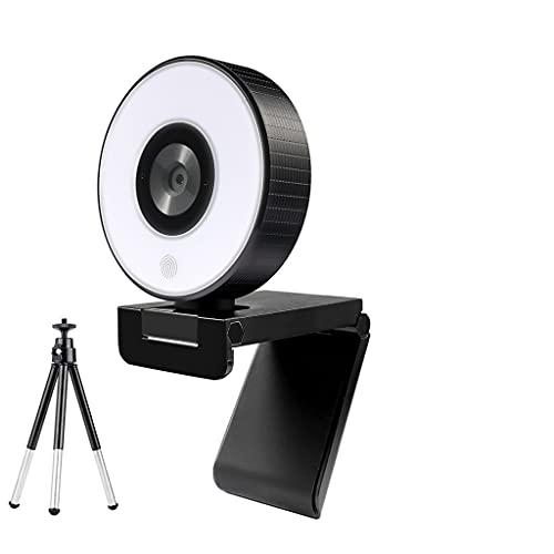 RYSF Webcam HD 1080P Cámara Web USB de Enfoque Fijo con trípode de luz para micrófono