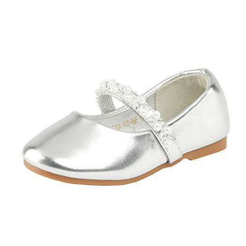 Dream Pairs SERENA-100 Zapatos Bailarina para Niña Plateado 21 EU/5 US Toddler