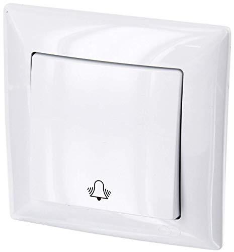 Interruptor UP con icono de timbre, todo en uno, marco + pieza empotrable + cubierta (Serie G1 blanco puro)