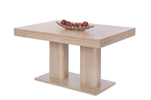 lifestyle4living Esstisch in Sonoma Eiche-Nachbildung, 2 Auszugsplatten je 40 cm, abgerundete Stege/Fußsäulen, Maße: B/H/T ca. 140-220x79,5x90 cm