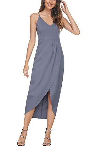 CMZ2005 Women's Sexy V Neck Backless Maxi Dress Sleeveless Spaghetti Straps Cocktail Party Dresses 71729 (XL, Gray) (Apparel)