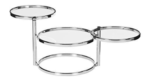 Haku Möbel Bubble Table, Tube d'acier, Verre trempé, Chromé