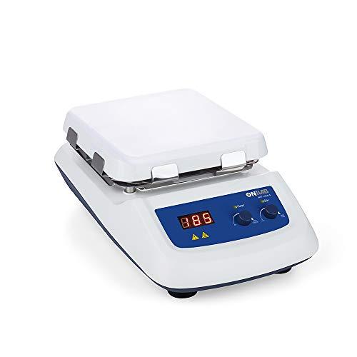 ONiLAB 8050122211 550C Magnetic Hotplate Stirrer Max Heating Temperature to 550℃ Speed 1500rpm, White, Glass Ceramic