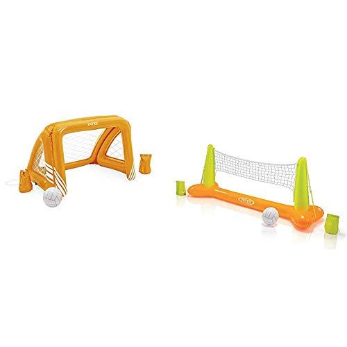 Intex Fun Goals Game - Aufblasbares Wasserballspiel - Wasserballnetz - 140 x 89 x 81 cm & Pool Volleybal Game - Aufblasbares Wasserballspiel - Volleyballnetz - 239 x 64 x 91 cm