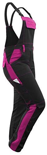 strongAnt - Damen Arbeitshose Arbeits-Latzhose Stretch für Frauen mit Kniepolstertaschen. Baumwolle Kombihose Schwarz-Pink 48
