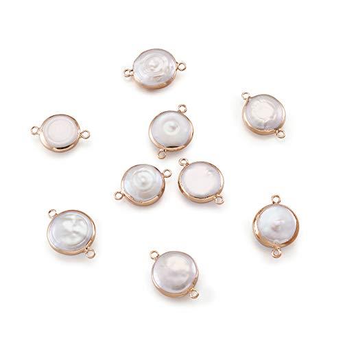 PandaHall 10 conectores de perlas naturales de agua dulce de 22 ~ 26 x 15 ~ 18 x 5 ~ 10 mm con perlas redondas planas con detalles de hierro dorado para collares y pulseras