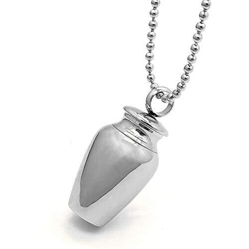Lzcaure-EC Collares urna Mascota Conmemorativa Caja Colgante, Collar de urna a Prueba de Humedad Ash Jar Exquisito (Plata) (Color : Silver, Size : One Size)