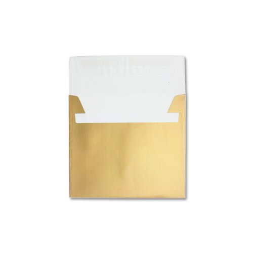 15 Stück große quadratische Umschläge, GOLD - METALLIC mit Glanz Effekt, sehr schwere und starke Qualität - sehr Stabil - fast knitterfrei - 130g /qm, 220 x 220 mm, Haftklebung