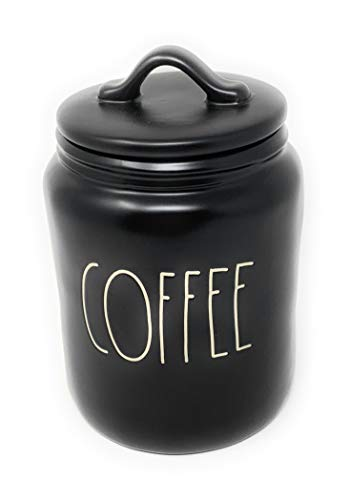 Rae Dunn By Magenta COFFEE Ceramic LL Medium 8 x 5 Canister (Black)