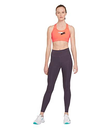Nike Sutiã esportivo feminino com logotipo Swoosh W Nk, feminino, sutiã de treino, CZ443-854, manga brilhante/uva escuro/(branco), P
