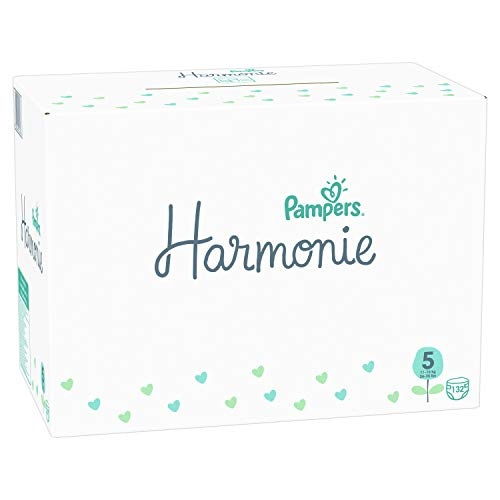 Pampers Armonía tamaño 5, 11 kg - 16 kg, caja mensual (132 pañales), protección suave de la piel e ingredientes vegetales.