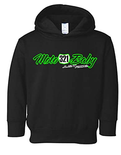 Just Ride Moto Baby Toddler Youth Hoodie Sweat Shirt Motocross Number Plate Custom Personalized (4T, Lime)