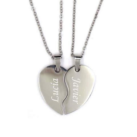 BOLBO Bolboreta Valente - Regalo para Parejas Aniversario - Collar Personalizado Parejas - Plata - Mitad Corazón - Corazón Roto