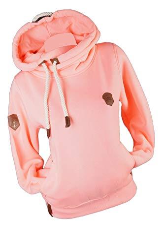 xy Damen Sweatshirt Hoodie Kapuzenpullover Warmer Fleece Uni Pulli S M L XL 2XL 3XL (Rosa, l)