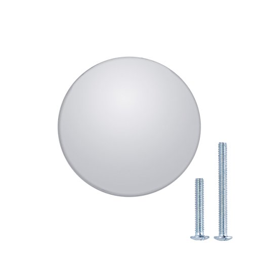 AmazonBasics - Schubladenknopf, Möbelgriff, flach, rund, Durchmesser: 3,47 cm, Poliertes Chrom, 10er-Pack