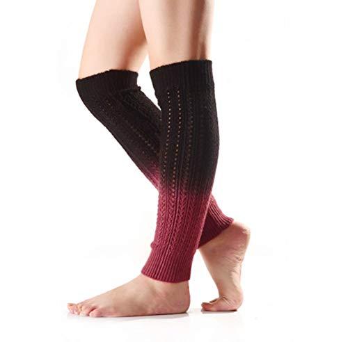 Nanxson Damen Strick Warmer Leggings farbverlauf Beinstulpen Stulpe Mehrfaribig Beinwärmer TTW0038 (Schwarz