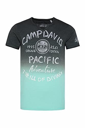 Camp David Herren T-Shirt Dip Dye mit Prints und Used-Optik