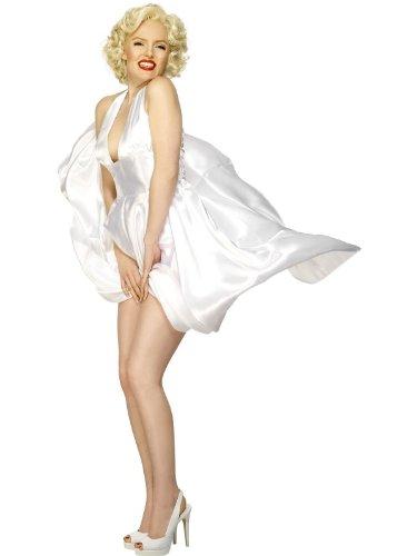 Smiffys Licenciado oficialmente Costume Marilyn Monroe Classic, Blanc, avec robe dos nu