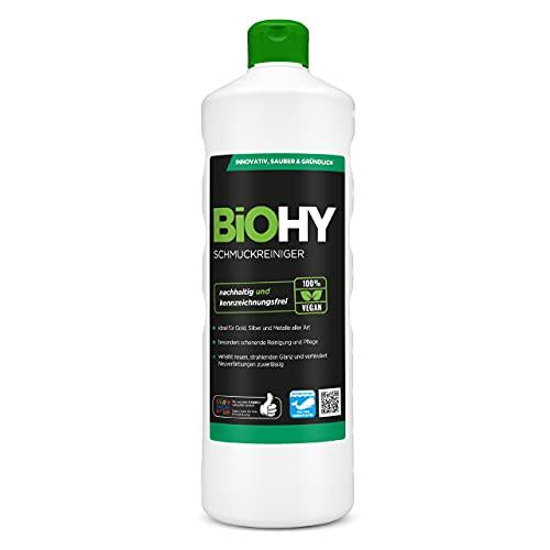 BiOHY Limpiador de joyas (1 botella de 1 litro)   Fórmula de brillo activo  Limpieza sostenible y suave para relojes, gafas, joyas y metales preciosos (Schmuckreiniger)