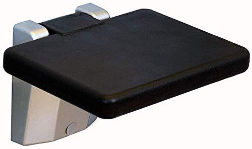 DJPP Taburete Plegable Taburete de Baño Conjunto Completo Montado en la Pared Aleación de Aluminio Plegable Seguridad Transpirable Simple Negro,Cuadrado-26.5X20