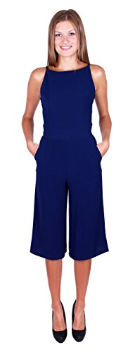 Exclusivo Mono Jumpsuit Einteiler Pantalón Color Azul Oscuro