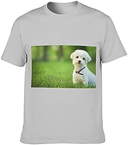 COMBON Shop Camiseta de algodón para hombre, diseño de perro pequeño, holgado, cuello redondo