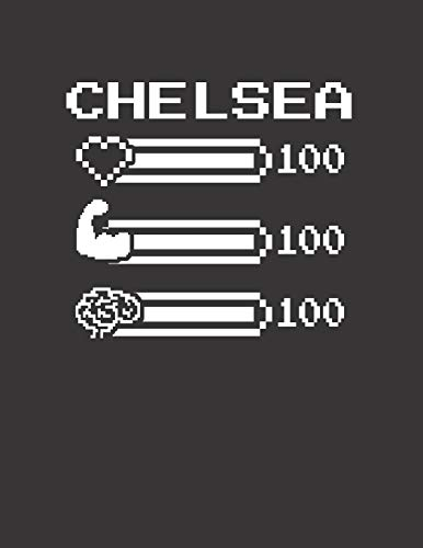 CHELSEA: Pixel Retro Game 8 Bit Design Blank Composition Notebook College Ruled, Name Personalized for Girls & Women. Gaming Desk Stuff for Gamer ... Gift. Birthday & Christmas Gift for Women.