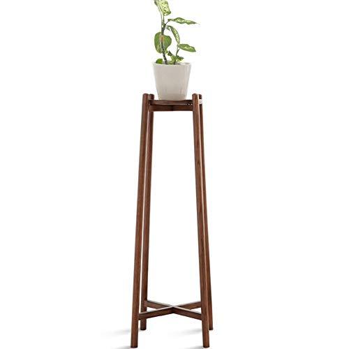 TY-ZWJ Balkon Oak Blumenständer, einfaches All-Holz Umweltfreundlich Innen Flower Stand Layered Double-Layer-Regal Natürliche Sleek Erhöhte Regal Pflanze Regal,Walnut Color,L