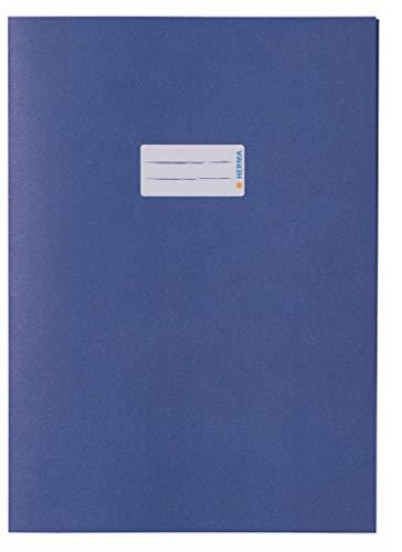 HERMA 5533 Papier Heftumschlag DIN A4 mit Beschriftungsfeld, aus kräftigem Recycling Altpapier und satten Farben, Heftschoner für Schulhefte, blau