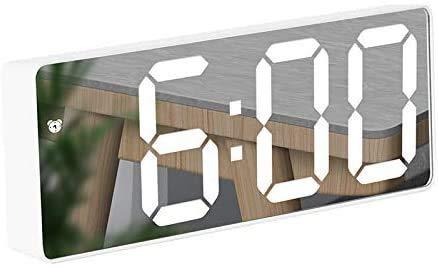Reloj Despertador Digital, Reloj Despertador con Pantalla LED de Temperatura/Fecha/Ajustable Brillo, Snooze Reloj Digital para Dormitorio/Viajes/Oficina/Cocina, USB y Funciona con Pilas