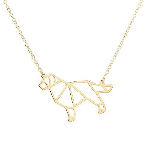 linda Mascota Origami Rottweiler Perro Colgante Gargantilla Collar Para Las Mujeres Niñas Delicado Regalo De Navidad Joyas Placa De Plata De Oro, Color Oro, 45 Cm