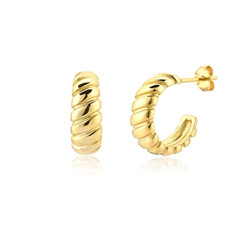 Plata de Ley 925 10 5mm Tornillo Twist Pencing Anillo Colgante Lujo Boda Rock Moda Joyas Punk Clips de cristal-Oro