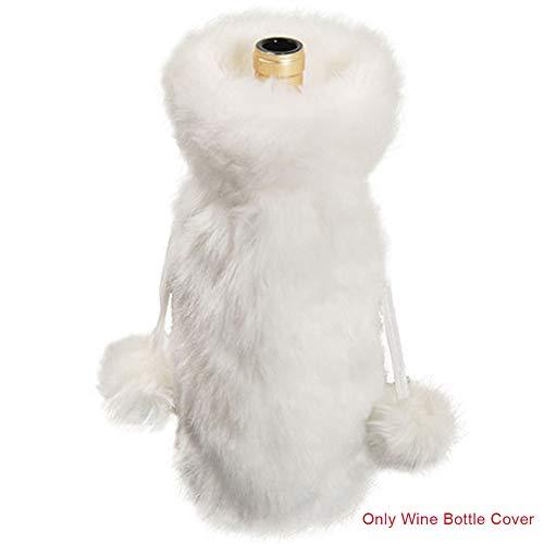 POHOVE Weinflaschen-Abdeckung aus Kunstfell, Weihnachten, weiß, Plüsch, Weinflaschen-Taschen für Neujahr, Urlaub, Party, Flaschendekorationen
