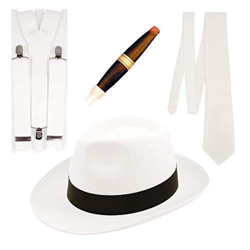 Fancy Dress - Costume da Gangster Fancy Dress, 4 pezzi, colore: bianco