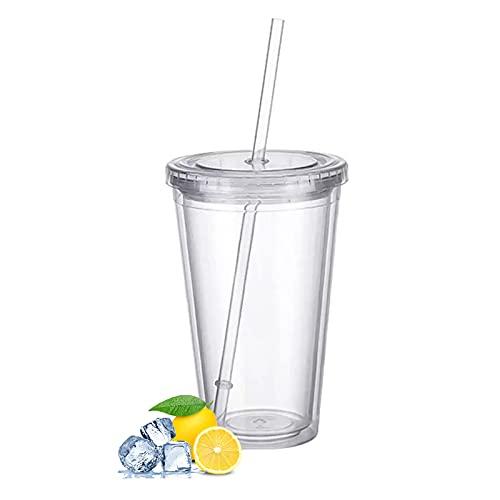 Plastikbecher Mehrweg, Doppelwandig Transparenter Trinkbecher mit Strohhalm,Wiederverwendbare Becher Geeignet für Fruchtsaftkaffee - 500ML