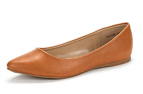 DREAM PAIRS Sole Classic Women's Casual Pointed Toe Ballet Comfort Soft Slip On Flats Shoes TAN PU Size 8