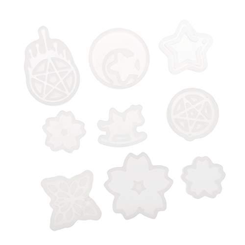 Colcolo 9pcs Molde de Silicona para Joyería, Forma de Estrella, Luna, Corazón, Resina, Arcilla Polimérica para