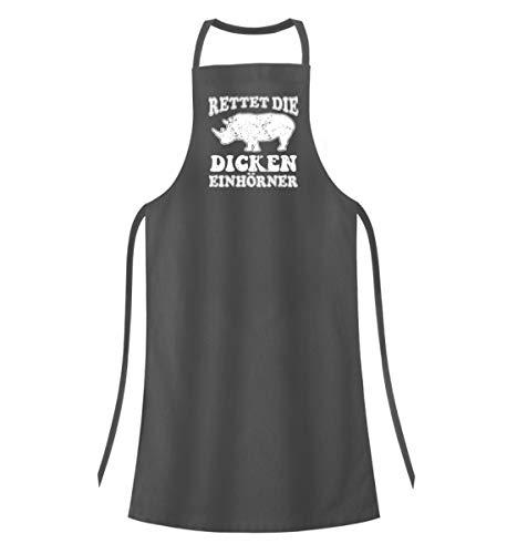 PlimPlom Rettet Die Dicken Einhörner - Save The Chubby Unicorns - Nashorn Spruch Kochschürze - Hochwertige Grillschürze -Einheitsgröße-Mausgrau