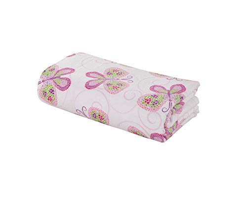 DELANNA Flannel Flat Sheet 100% Brushed Cotton 1 Top Sheet Only 80'x96' (Full, Butterfly)