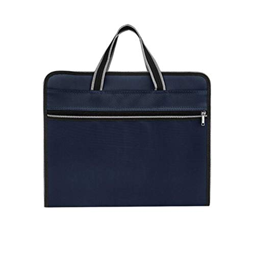 DaoDai Briefcase Conference 12 Layer Oxford Cloth Organ Bag Travel Zipper Waterproof Insert File Bag IPad Handbag Storage for Holiday and Office (deep Blue)