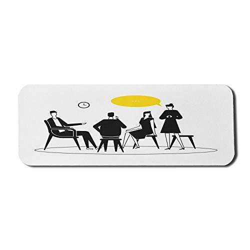 Psychologie Computer Mauspad, Zusammensetzung von Männern und Frauen, die Gefühle teilen, die auf Stühlen sitzen, Rechteck rutschfestes Gummi-Mauspad Großes Anthrazit Grau und Gelb
