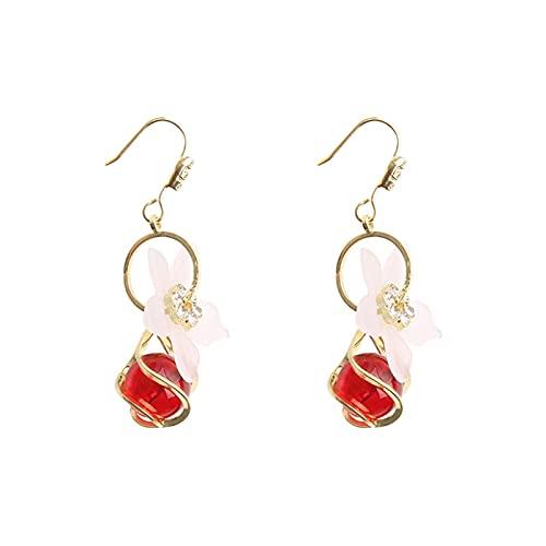 DHDHWL Pendientes suaves y elegantes pendientes de flores con cuentas de cristal rojo de moda para los oídos. Pendientes salvajes de personalidad moderna (color rojo)