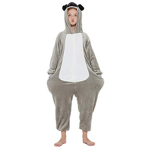 ANBOTA Kids Dog Onesie Fleece Animal Halloween Cosplay Puppy Costume Christmas Easter Bulldog One Piece Pajamas, Light Grey 130